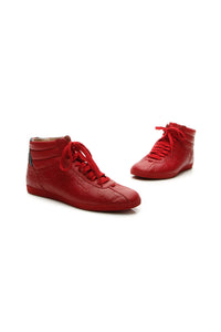 Gucci High-Top Men's Sneakers - Red Guccissima US Size 8.5