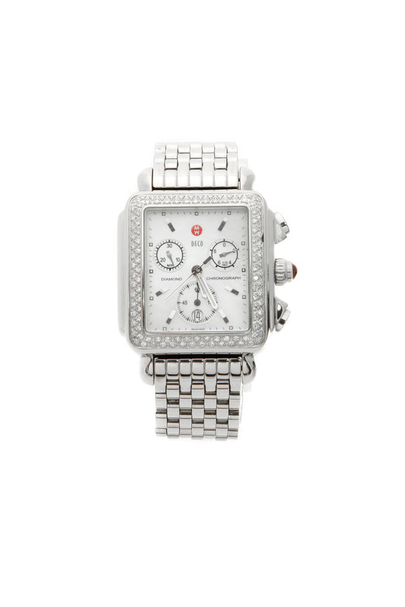 Michele Diamond Deco Watch - Steel