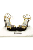 Gucci Feline Head Platform Sandals - Black/Gold Size 38.5