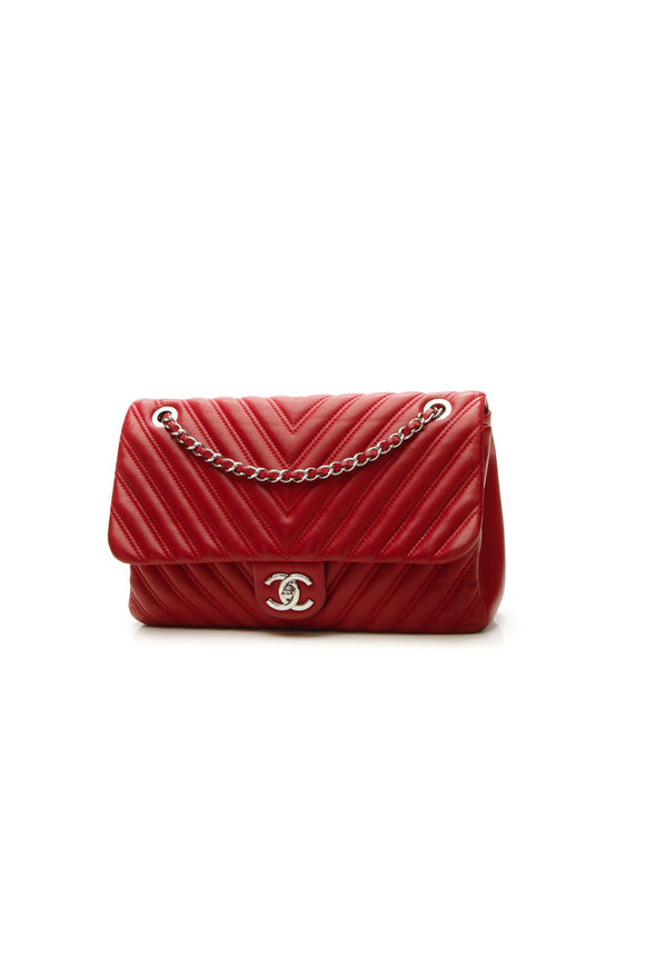 Chanel Chevron Quilted Jumbo Single Flap Bag - Red