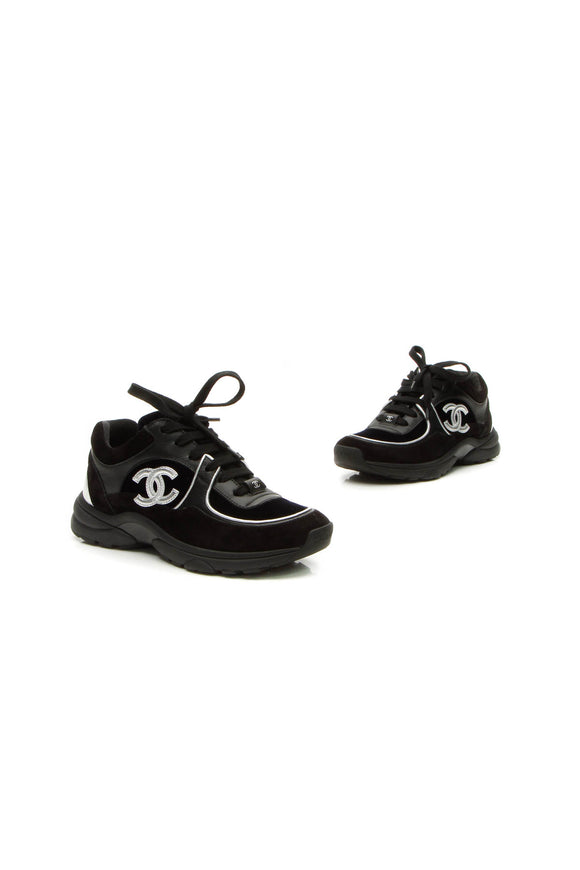 Chanel CC Low Top Sneakers - Black/Navy Size 34