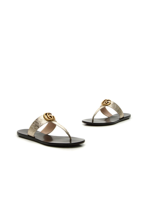 Gucci Marmont Thong Sandals - Gold Size 35