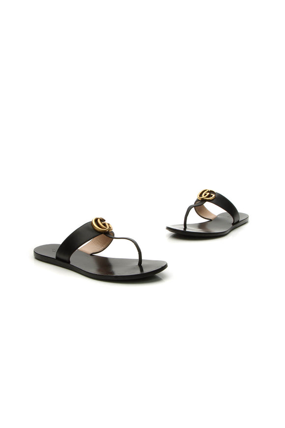 Gucci Marmont Thong Sandals - Black Size 36.5