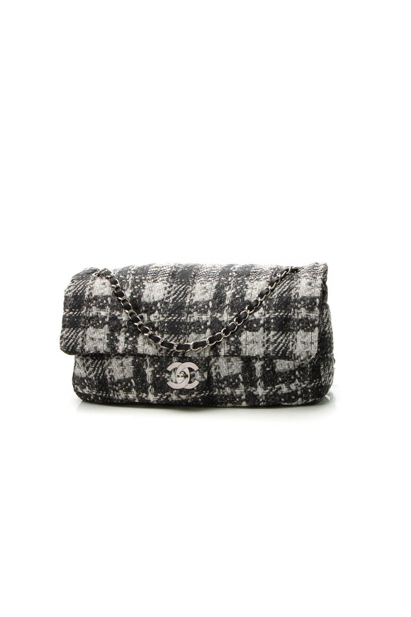 Chanel Tweed Print CC Flap Bag - Black/Gray