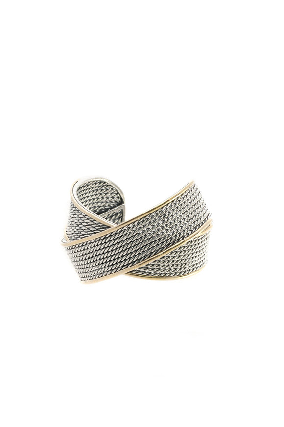 David Yurman Origami Large Crossover Cuff Bracelet - Silver/Gold