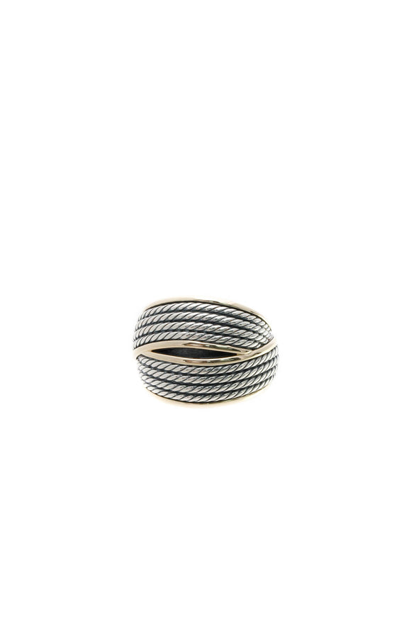 David Yurman Origami Crossover Ring - Silver/Gold Size 8