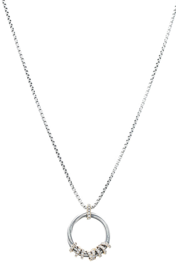 David Yurman Diamond Helena Medium Pendant Necklace -Silver/Gold