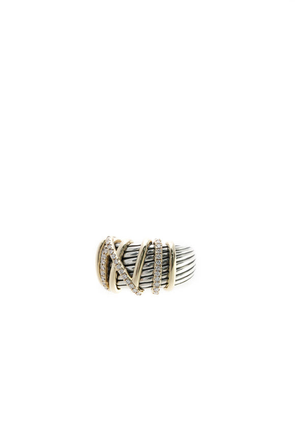 David Yurman Diamond Helena Statement Ring - Silver/Gold Size 7