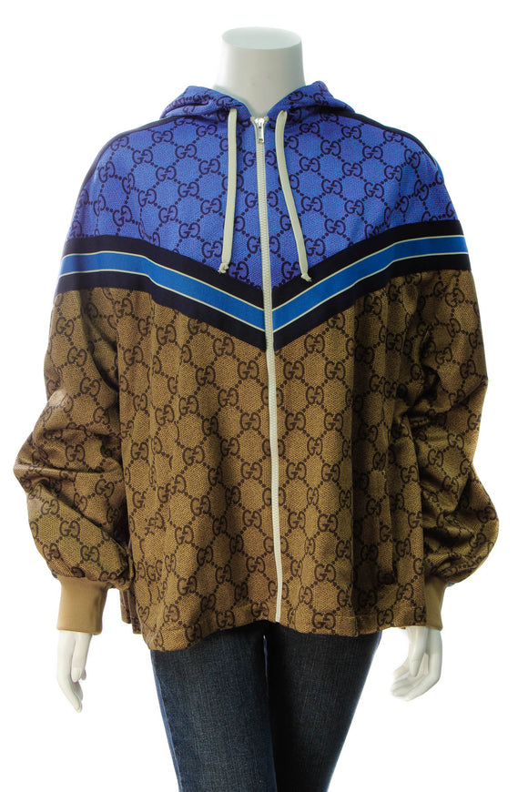 Gucci Technical Pleated Jersey Jacket - Blue/Brown Size Large