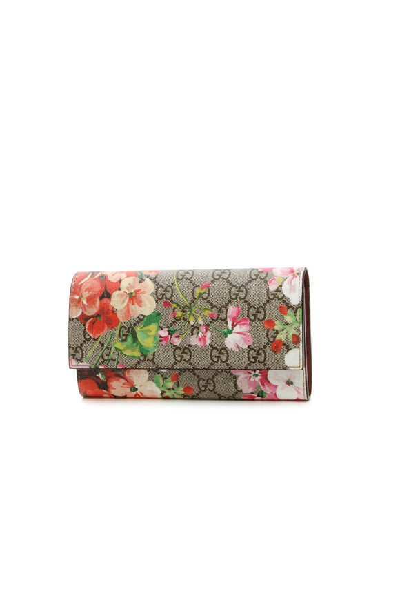 Gucci Blooms Continental Flap Wallet - Supreme Canvas