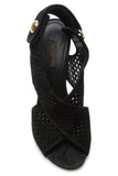 Louis Vuitton Perforated Heeled Sandals - Black Size 38