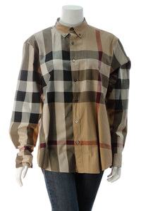 Burberry Men's Button Down Top - Check Size Extra Large