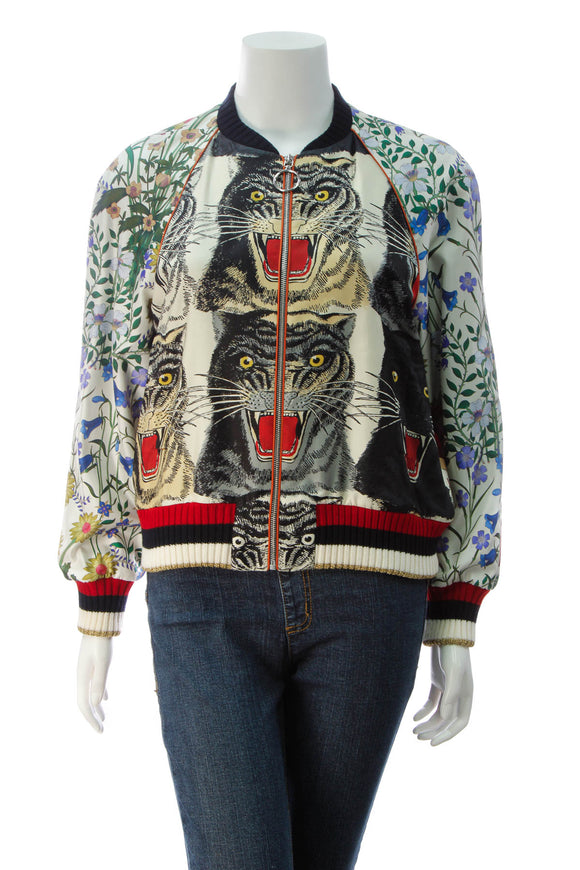 Gucci Hollywood Feline Silk Bomber Jacket - Multicolor Size 44