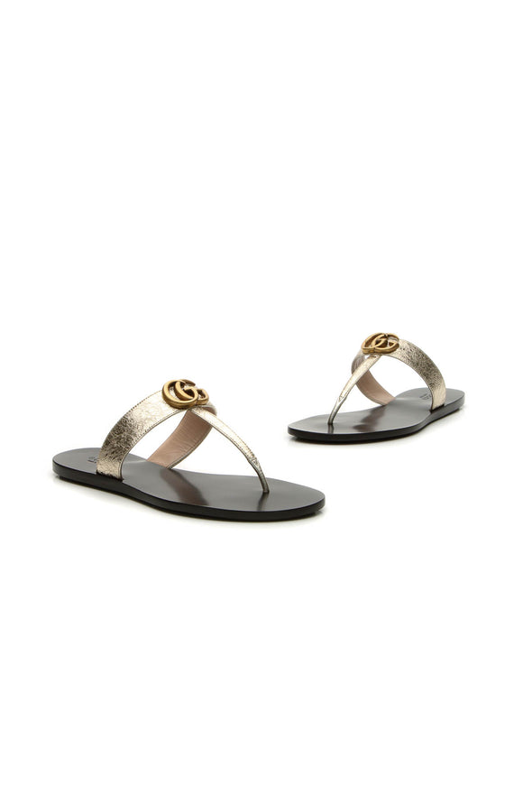 Gucci Marmont Thong Sandals - Gold Size 38