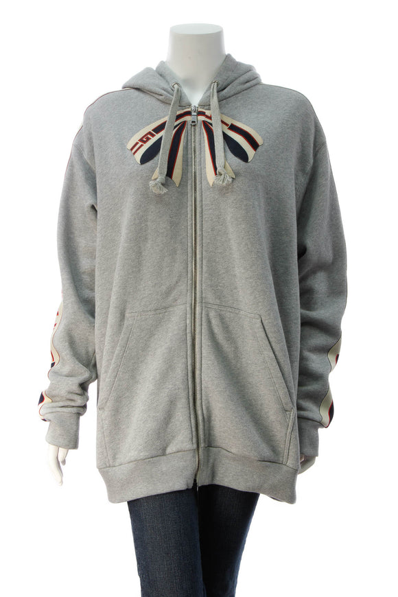 Gucci Bow Zip-Up Hooded Sweater - Gray Size Large