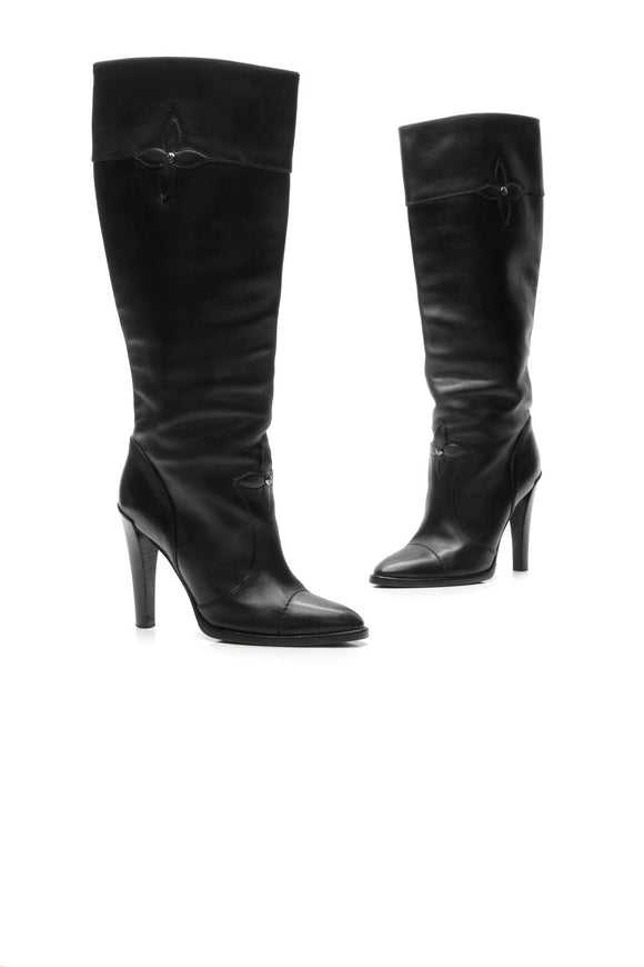 Louis Vuitton Fleur Knee-High Boots - Black Size 40.5