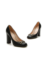 Gucci Horsebit Square-Toe Pumps - Black Size 37