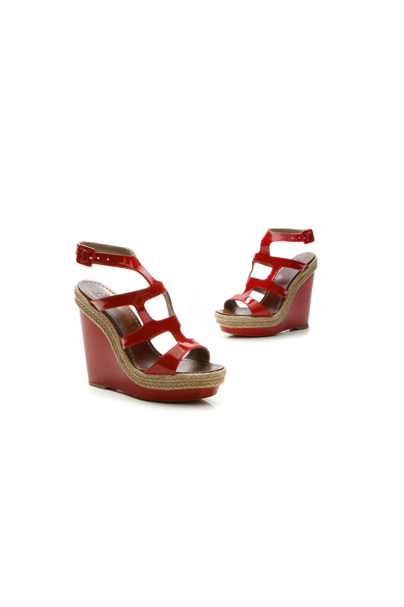 Christian Louboutin Bilbao Wedge Sandals - Red Size 8