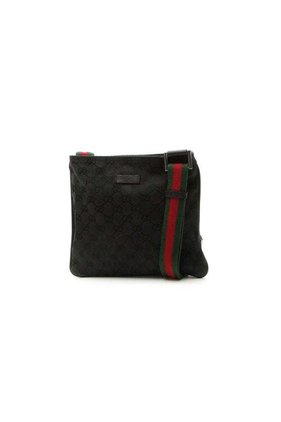 Gucci Web Small Messenger Bag - Black Signature Canvas
