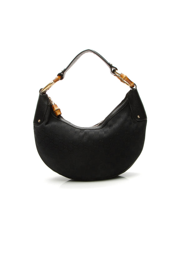 Gucci Bamboo Ring Hobo Bag - Black Signature Canvas