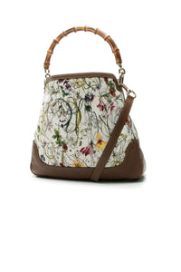 Gucci Diana Bamboo Flora Shoulder Bag - White/Brown