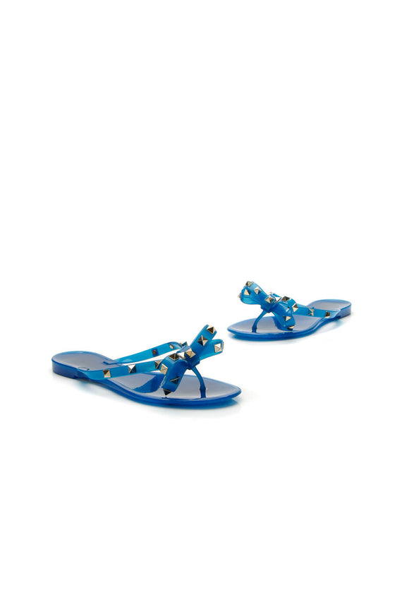 Valentino Rockstud Bow Thong Sandals - Blue Size 35