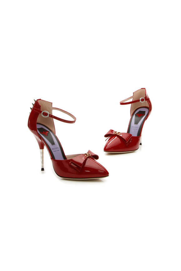 Gucci Sadie Bow & Spike Studded Heels - Red Size 37.5