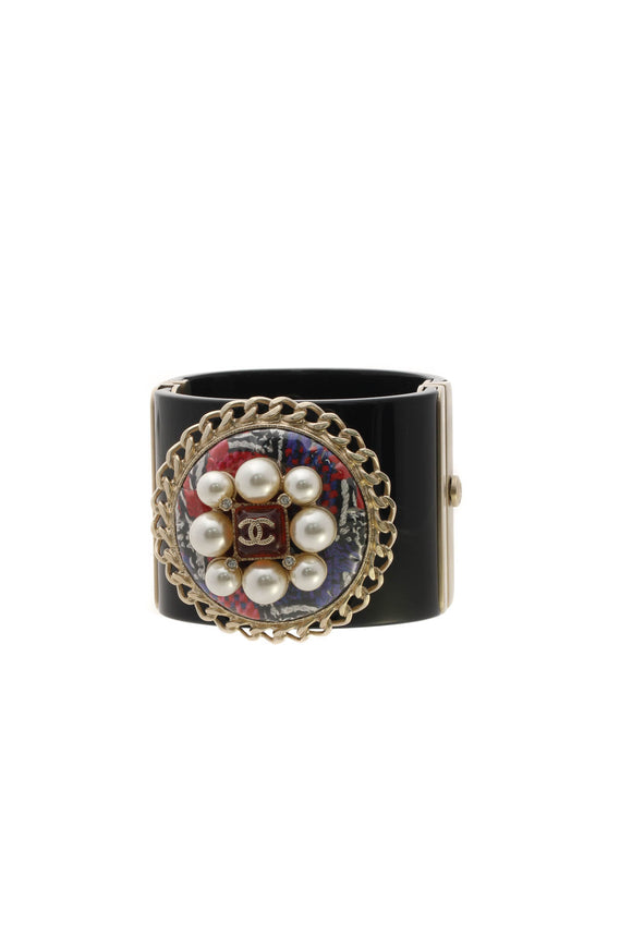 Chanel Pearl & Resin CC Wide Cuff Bracelet - Black