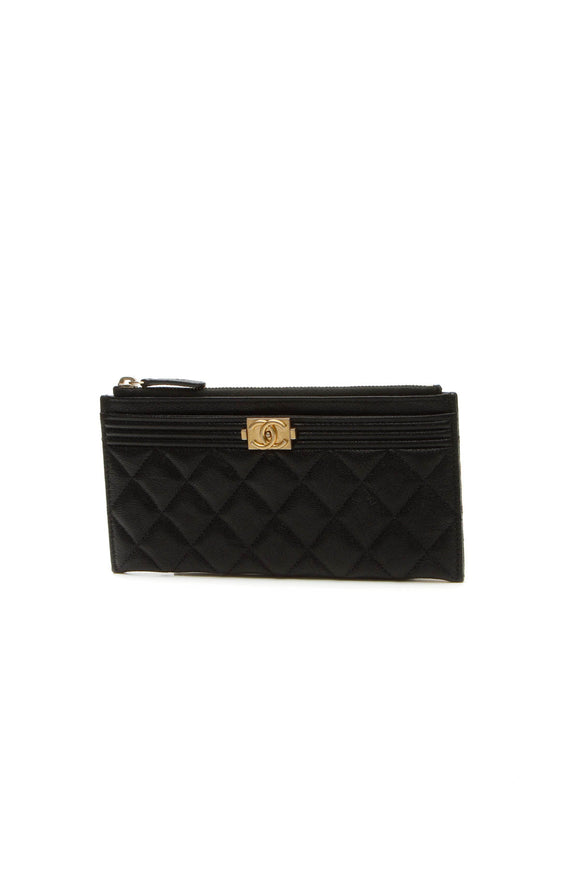 Chanel Boy Long Card Pouch - Black Caviar