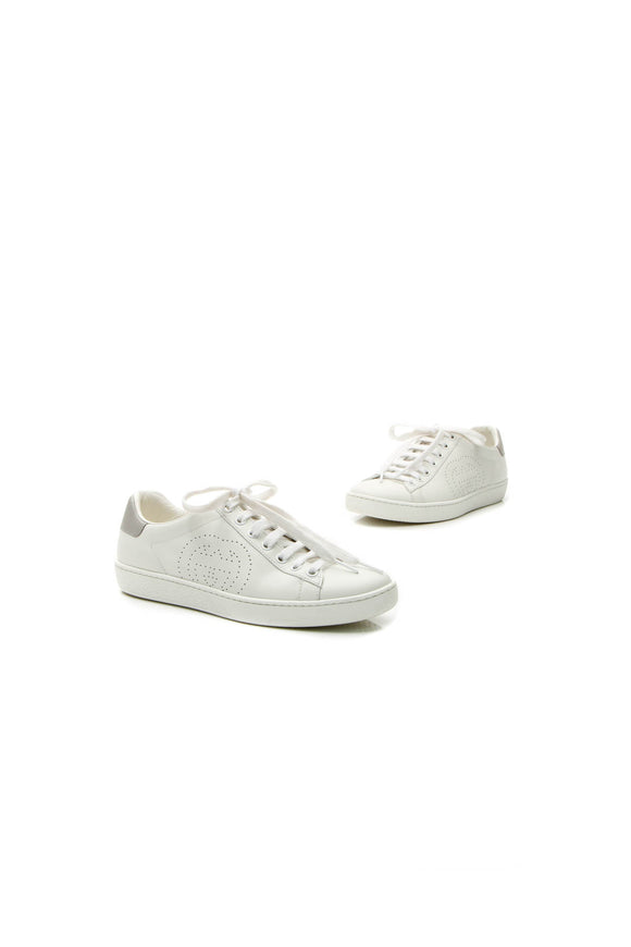 Gucci Perforated GG Ace Sneakers - White Size 35