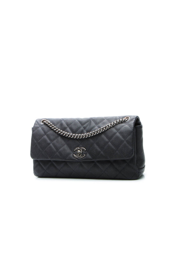 Chanel Accordion Flap Bag - Navy