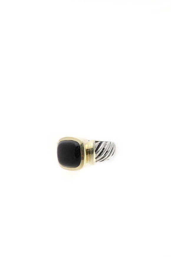 David Yurman Onyx Noblesse Cable Ring - Silver/Gold Size 4.75