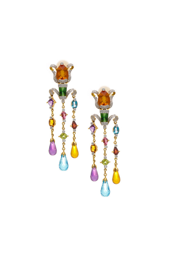 Fine Jewelry Multi-Stone Chandelier Clip-On Earrings - Yellow Gold