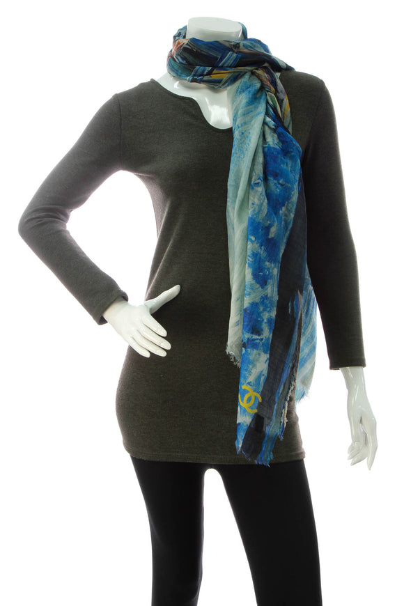 Chanel Paint Print Scarf - Blue
