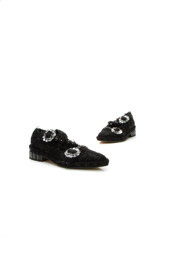 Simone Rocha Bead & Tweed Brogues Flats - Black Size 38