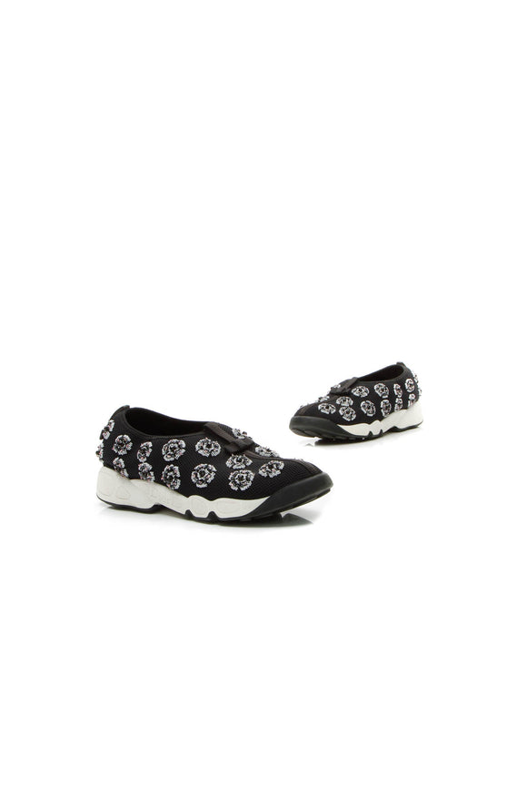 Christian Dior Floral Fusion Slip-On Sneakers - Black Size 39
