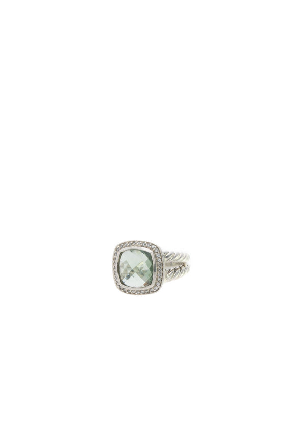 David Yurman 11mm Diamond & Prasiolite Albion Ring - Silver Size 6.75