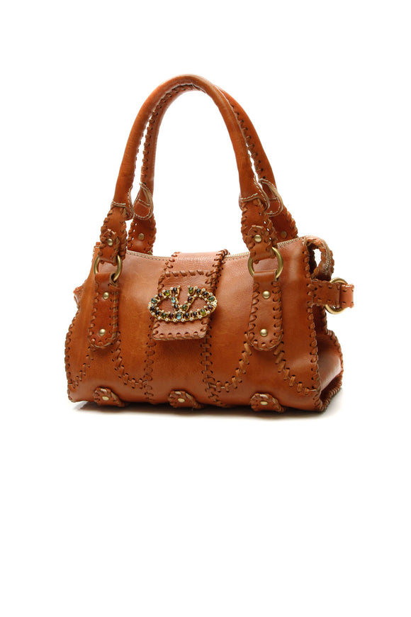 Valentino Crystal Catch Satchel Bag - Tan