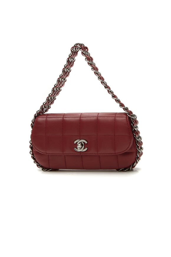 Chanel Multichain Square Quilt Flap Bag - Dark Red