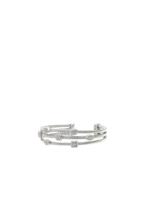 David Yurman Diamond Confetti Narrow Cuff Bracelet - Silver