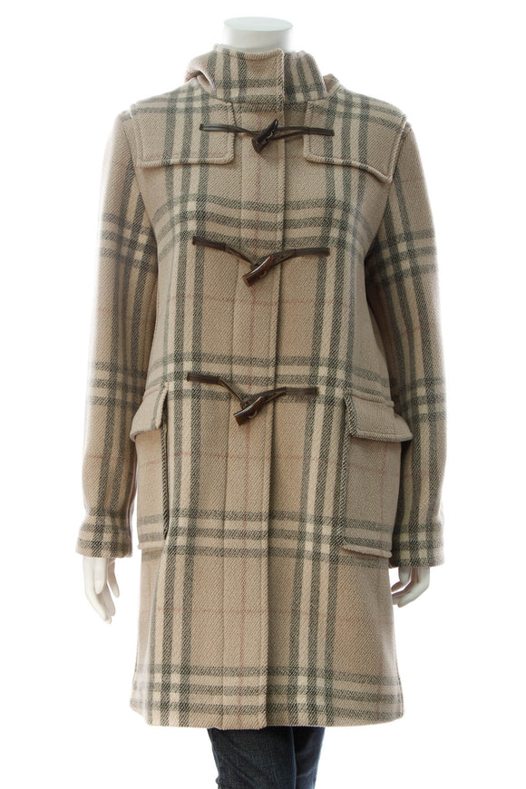 Burberry Hooded Toggle Duffle Coat - Nova Check Size 4