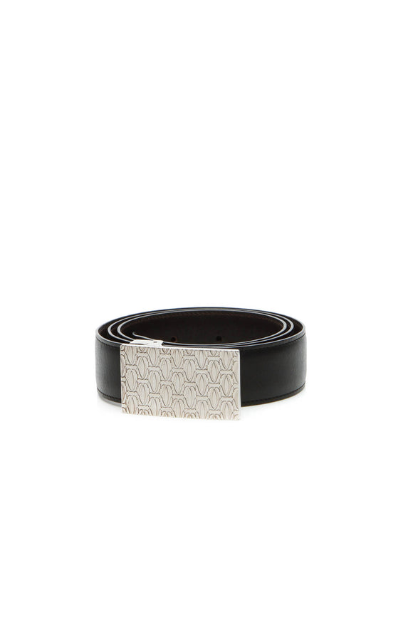 Cartier Reversible Logo Plate Belt - Black/Dark Brown