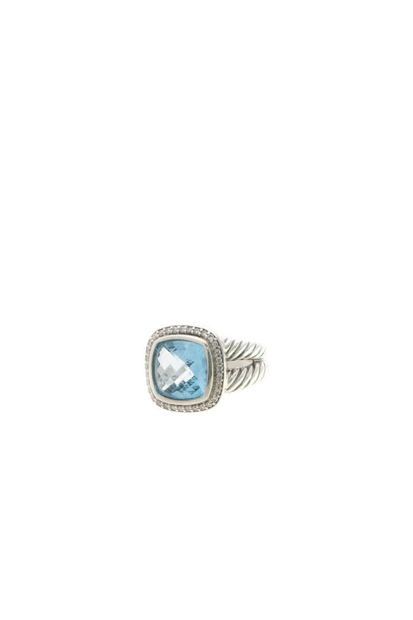 David Yurman 11mm Diamond & Topaz Albion Ring - Silver Size 6