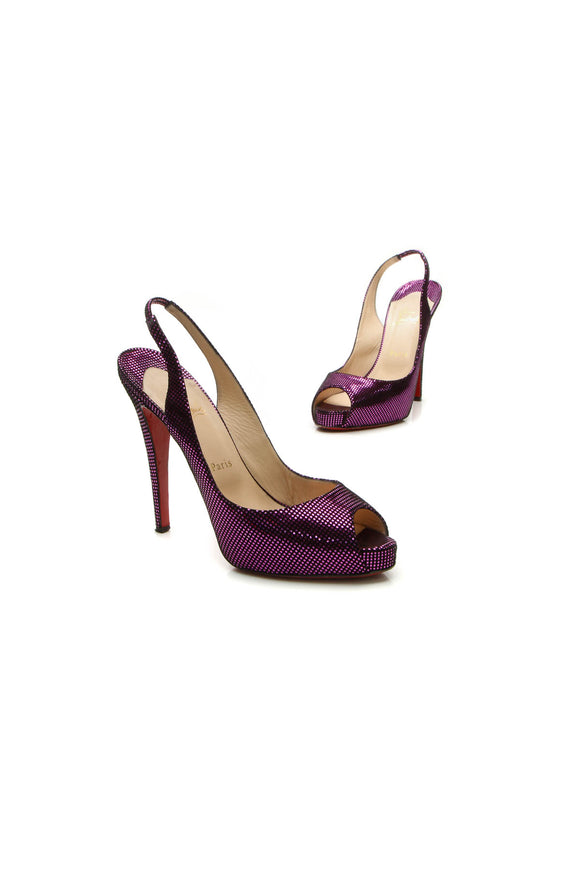 Christian Louboutin No Prive Metallic Pumps - Purple Size 41