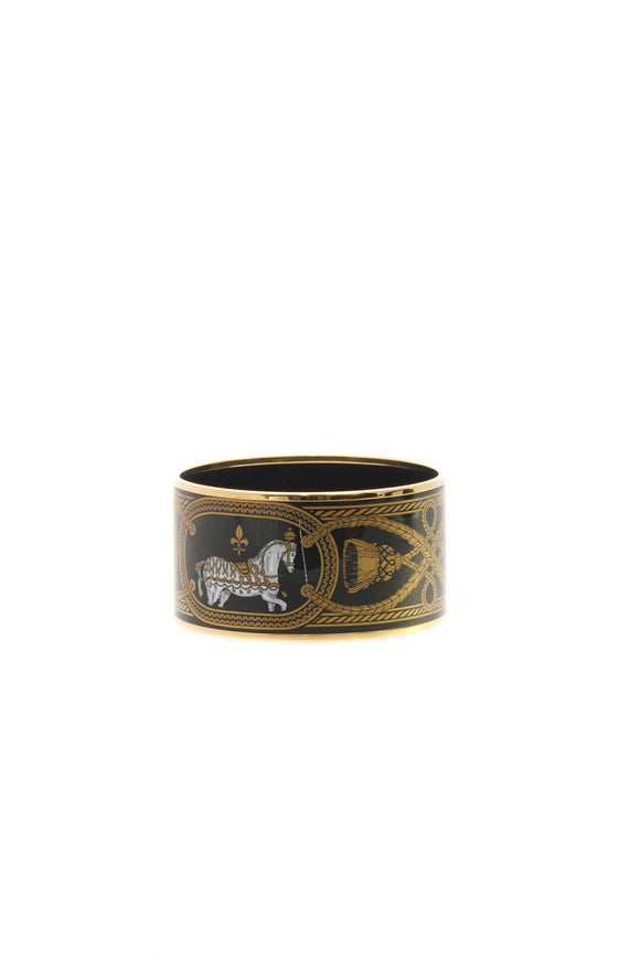 Hermes Grand Apparat Extra Wide Bangle - Gold/Black
