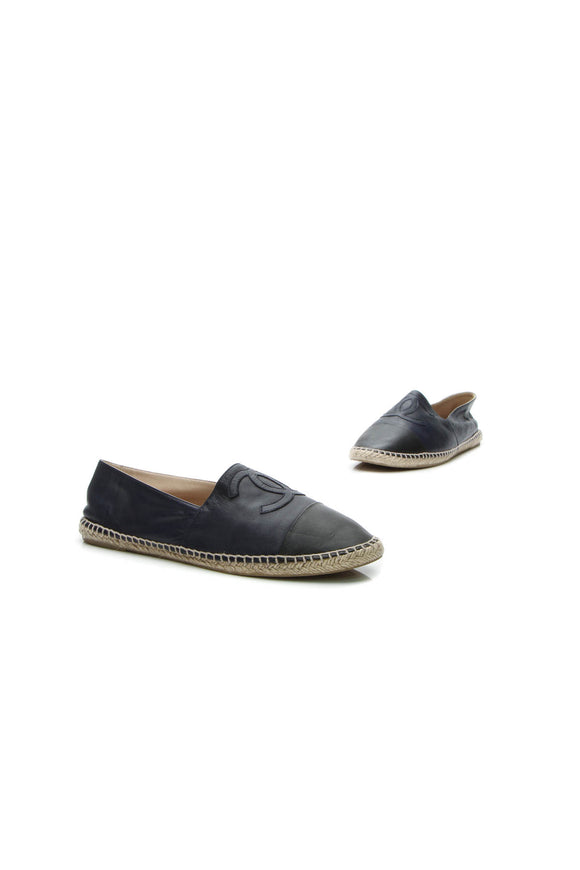 Chanel CC Men's Espadrille Flats - Navy/Black US Size 10