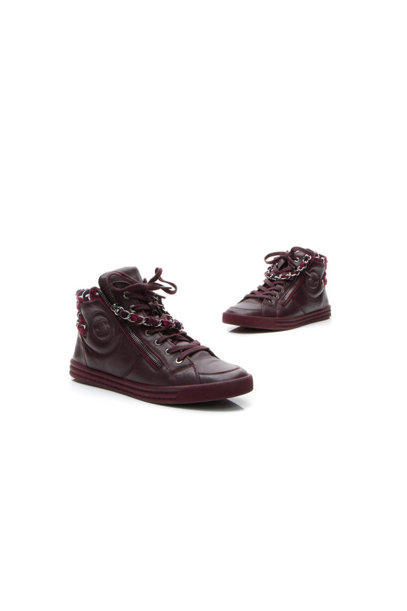 Chanel Tweed Chain CC High-Top Sneakers - Burgundy Size 40