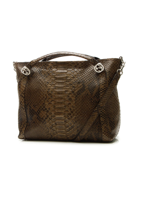 Gucci Python Miss GG Satchel Bag - Brown