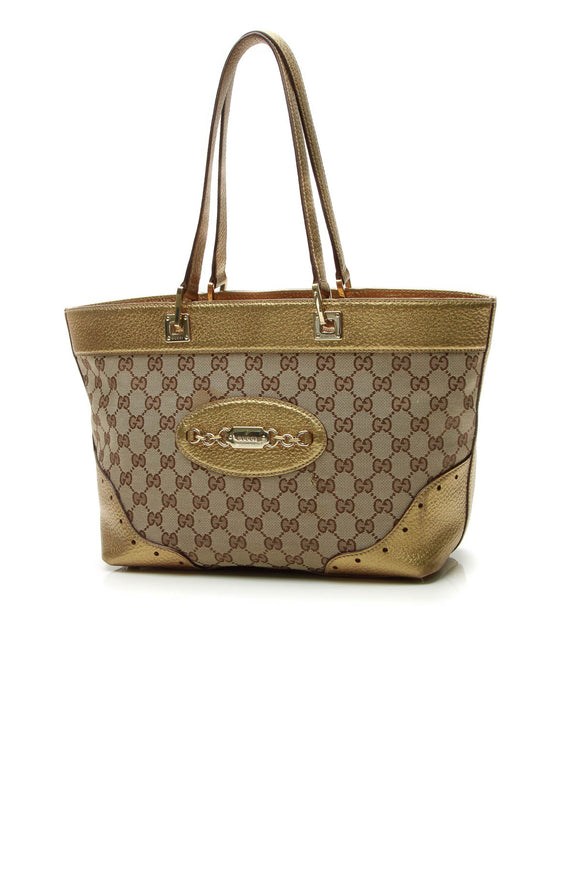 Gucci Punch Tote Bag - Signature Canvas/Gold