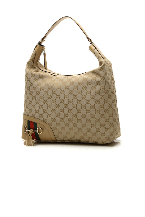 Gucci Horsebit Tassel Medium Hobo Bag - Signature Canvas
